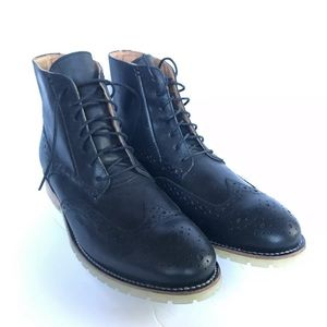 JD Fisk Phinney Wingtip Boots Black Size 10 1/2